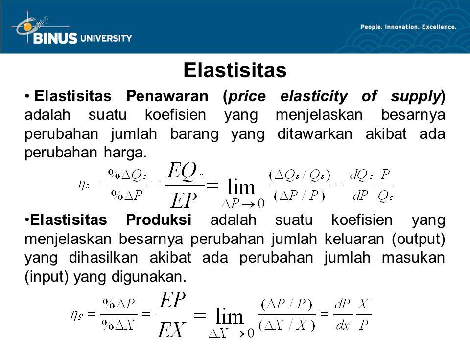 Elastisitas Elastisitas Penawaran (price elasticity of supply) adalah suatu koefisien yang menjelaskan besarnya perubahan jumlah barang yang ditawarka