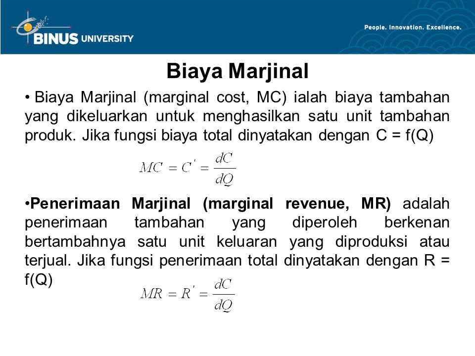 Biaya Marjinal Biaya Marjinal (marginal cost, MC) ialah biaya tambahan yang dikeluarkan untuk menghasilkan satu unit tambahan produk. Jika fungsi biay