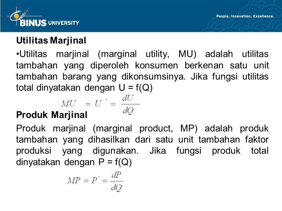 Utilitas Marjinal Utilitas marjinal (marginal utility, MU) adalah utilitas tambahan yang diperoleh konsumen berkenan satu unit tambahan barang yang di