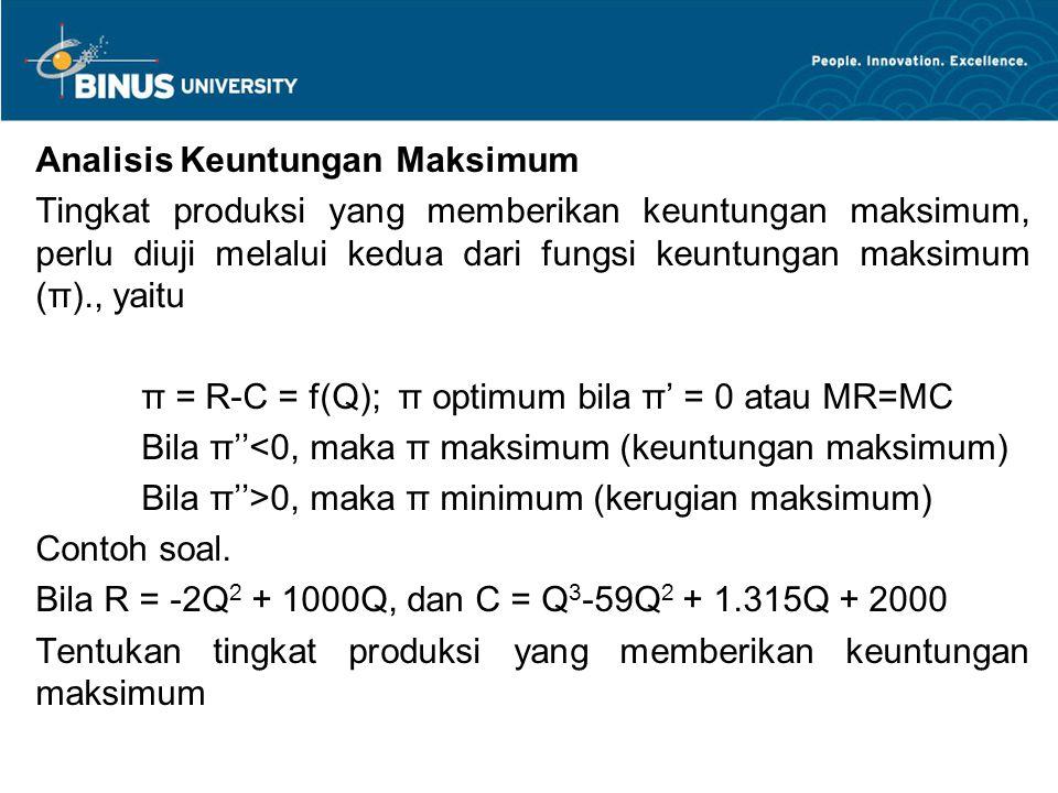 Analisis Keuntungan Maksimum Tingkat produksi yang memberikan keuntungan maksimum, perlu diuji melalui kedua dari fungsi keuntungan maksimum (π)., yai