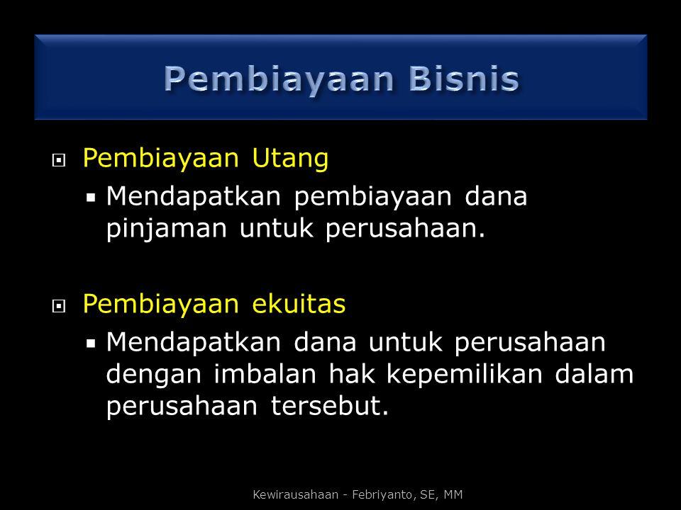 Kewirausahaan - Febriyanto, SE, MM  Pembiayaan Utang  Mendapatkan pembiayaan dana pinjaman untuk perusahaan.  Pembiayaan ekuitas  Mendapatkan dana