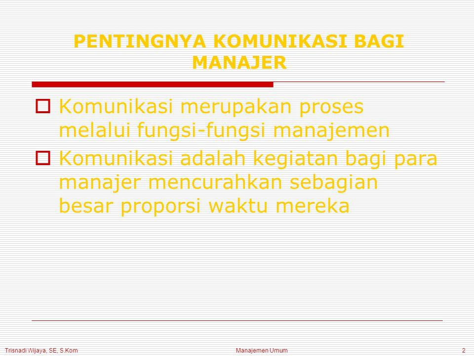 Manajemen Umum2 PENTINGNYA KOMUNIKASI BAGI MANAJER  Komunikasi merupakan proses melalui fungsi-fungsi manajemen  Komunikasi adalah kegiatan bagi para manajer mencurahkan sebagian besar proporsi waktu mereka