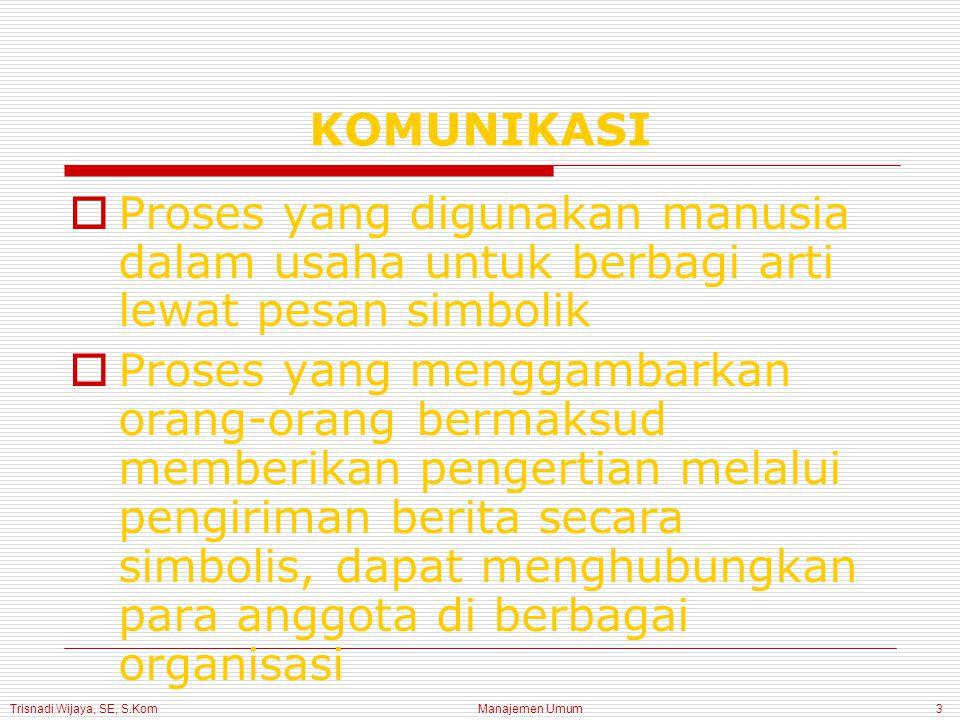 Trisnadi Wijaya, SE, S.Kom Manajemen Umum3 KOMUNIKASI  Proses yang digunakan manusia dalam usaha untuk berbagi arti lewat pesan simbolik  Proses yang menggambarkan orang-orang bermaksud memberikan pengertian melalui pengiriman berita secara simbolis, dapat menghubungkan para anggota di berbagai organisasi