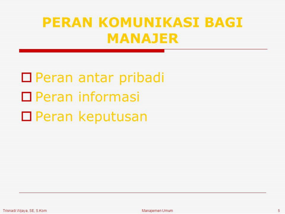 Trisnadi Wijaya, SE, S.Kom Manajemen Umum6 PROSES KOMUNIKASI  Message (pesan) Informasi yang sudah disandikan dikirimkan oleh pengirim kepada penerima  Sender (pengirim) Pemrakarsa suatu komunikasi  Receiver (penerima) Individu yang menanggapi pesan dari pengirim