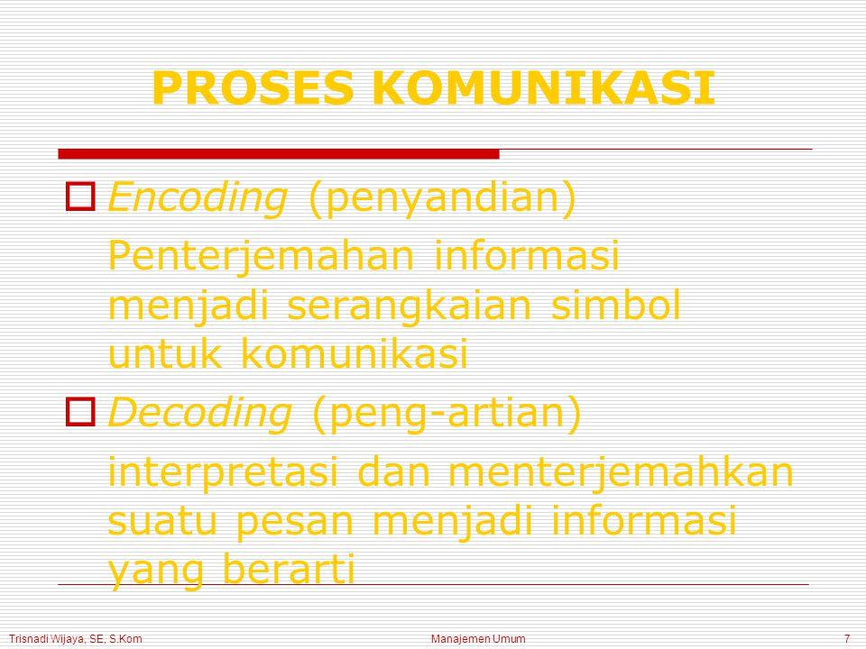Trisnadi Wijaya, SE, S.Kom Manajemen Umum7  Encoding (penyandian) Penterjemahan informasi menjadi serangkaian simbol untuk komunikasi  Decoding (peng-artian) interpretasi dan menterjemahkan suatu pesan menjadi informasi yang berarti PROSES KOMUNIKASI