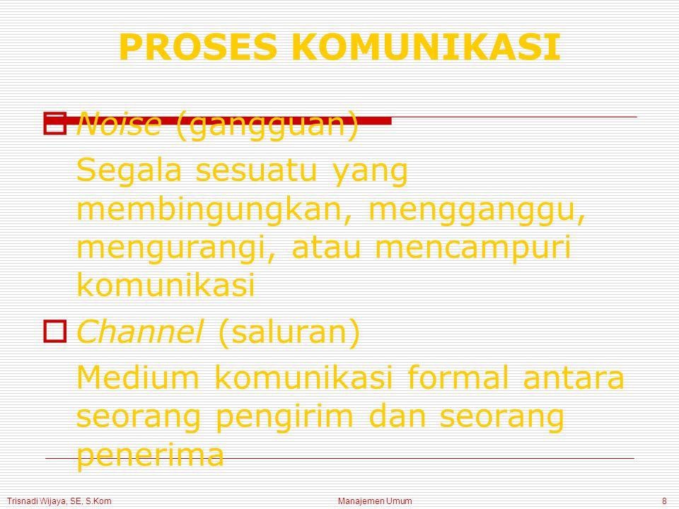 Trisnadi Wijaya, SE, S.Kom Manajemen Umum9 PROSES KOMUNIKASI
