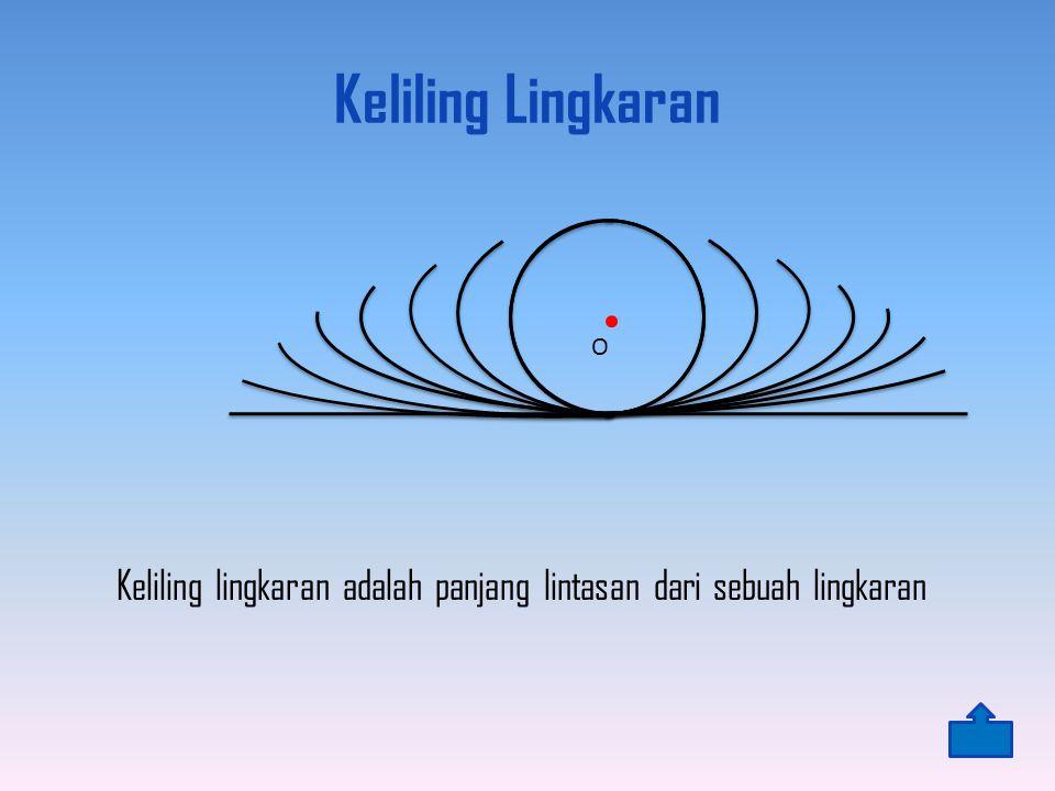Keliling Lingkaran Keliling lingkaran adalah panjang lintasan dari sebuah lingkaran O
