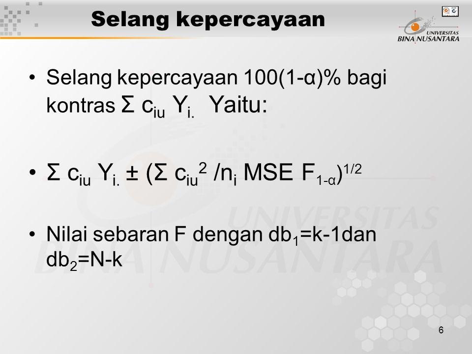 6 Selang kepercayaan Selang kepercayaan 100(1-α)% bagi kontras Σ c iu Y i. Yaitu: Σ c iu Y i. ± (Σ c iu 2 /n i MSE F 1-α ) 1/2 Nilai sebaran F dengan
