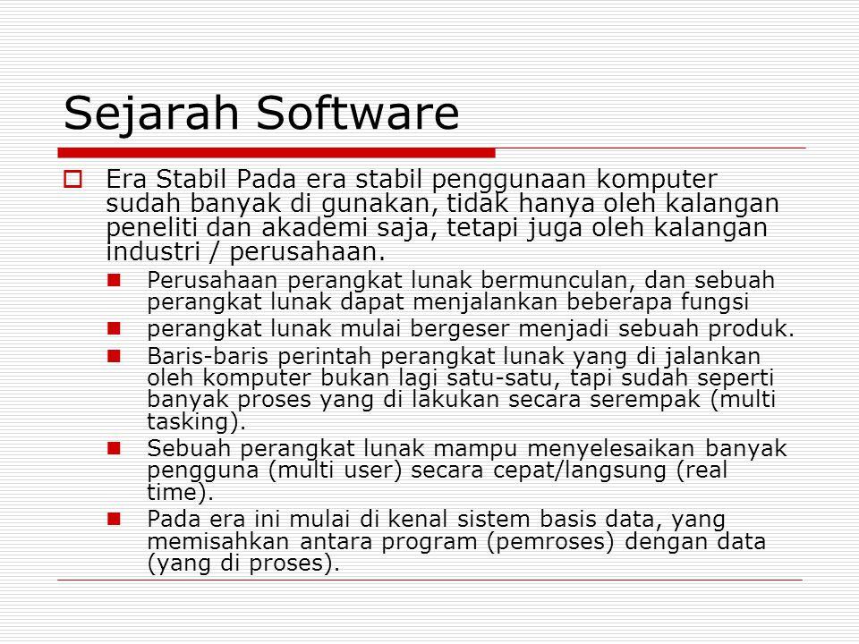 Sejarah Software  Era Stabil Pada era stabil penggunaan komputer sudah banyak di gunakan, tidak hanya oleh kalangan peneliti dan akademi saja, tetapi