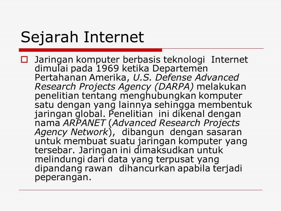 Sejarah Internet  Jaringan komputer berbasis teknologi Internet dimulai pada 1969 ketika Departemen Pertahanan Amerika, U.S. Defense Advanced Researc