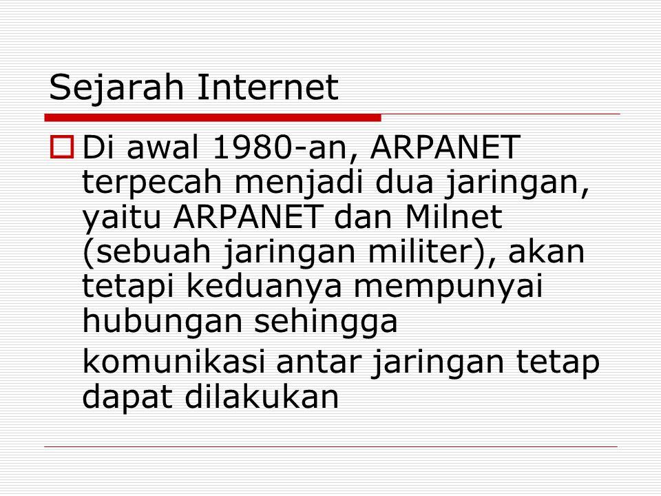Sejarah Internet  Di awal 1980-an, ARPANET terpecah menjadi dua jaringan, yaitu ARPANET dan Milnet (sebuah jaringan militer), akan tetapi keduanya me