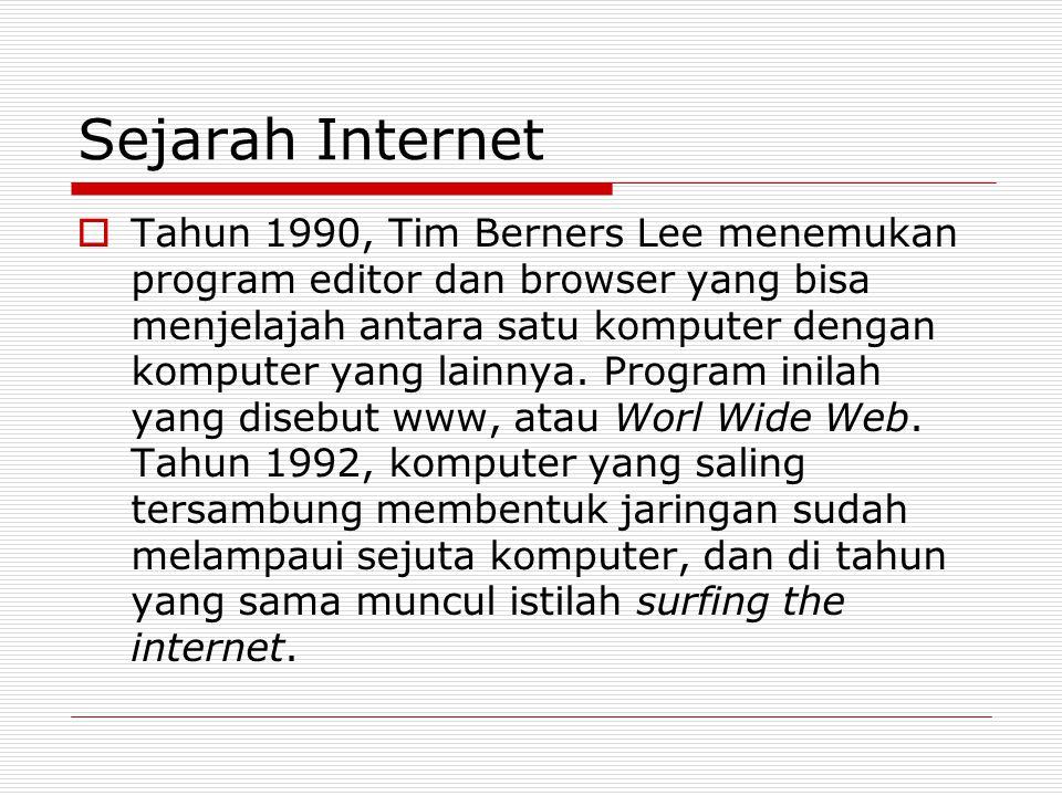 Sejarah Internet  Tahun 1990, Tim Berners Lee menemukan program editor dan browser yang bisa menjelajah antara satu komputer dengan komputer yang lai