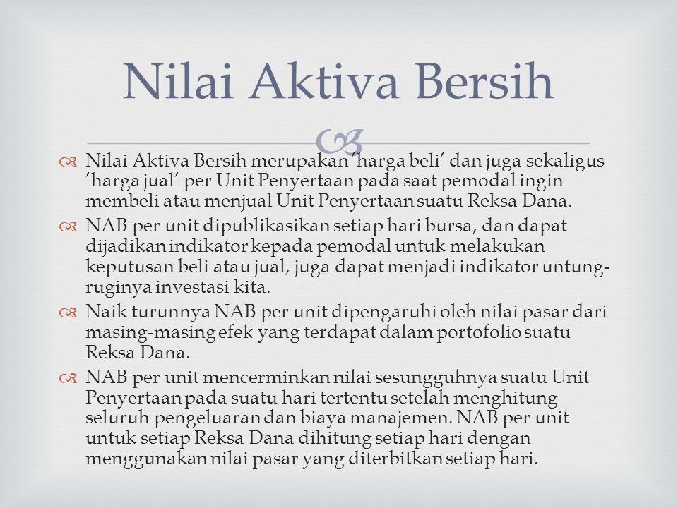   Nilai Aktiva Bersih merupakan 'harga beli' dan juga sekaligus 'harga jual' per Unit Penyertaan pada saat pemodal ingin membeli atau menjual Unit P
