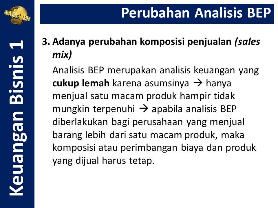 3.Adanya perubahan komposisi penjualan (sales mix) Analisis BEP merupakan analisis keuangan yang cukup lemah karena asumsinya  hanya menjual satu mac