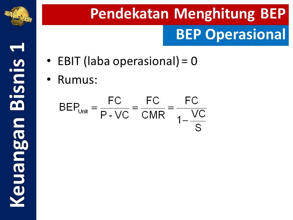 EBIT (laba operasional) = 0 Rumus: Keuangan Bisnis 1 Pendekatan Menghitung BEP BEP Operasional