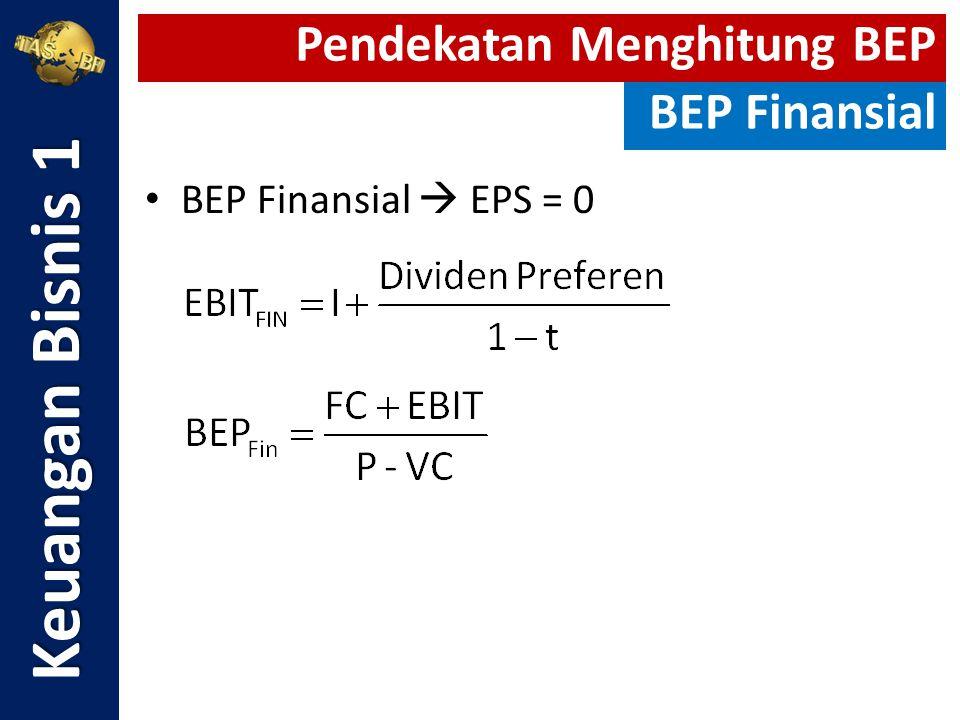 BEP Finansial  EPS = 0 Keuangan Bisnis 1 Pendekatan Menghitung BEP BEP Finansial