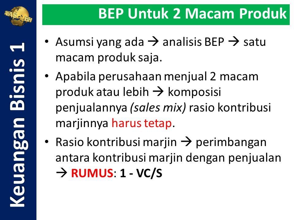 Asumsi yang ada  analisis BEP  satu macam produk saja. Apabila perusahaan menjual 2 macam produk atau lebih  komposisi penjualannya (sales mix) ras