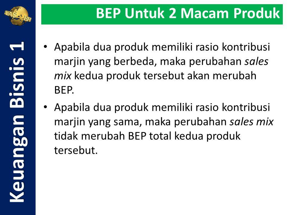 Apabila dua produk memiliki rasio kontribusi marjin yang berbeda, maka perubahan sales mix kedua produk tersebut akan merubah BEP. Apabila dua produk