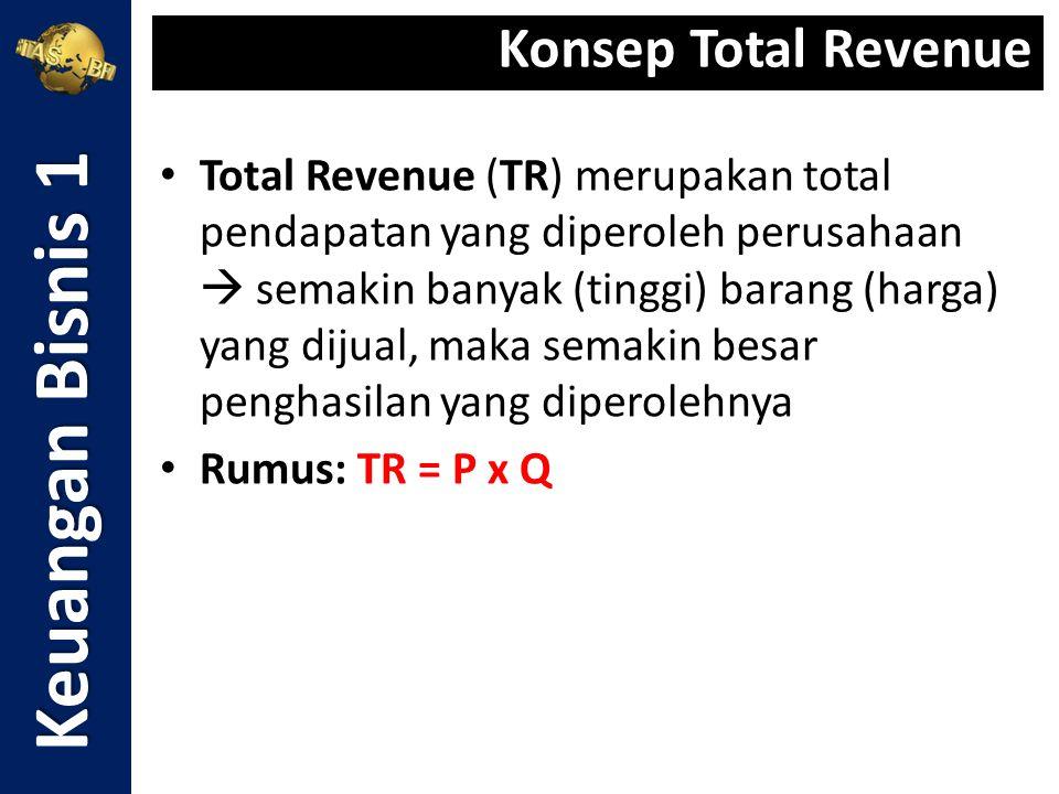 Total Cost merupakan jumlah keseluruhan biaya yang dikeluarkan oleh perusahaan Total Cost terdiri atas: 1.Fixed Cost  biaya yang jumlahnya selalu tetap untuk seluruh jumlah barang yang dihasilkan 2.Variable Cost  biaya yang besarnya berubah-ubah sesuai dengan perubahan volume (jumlah) barang yang dihasilkan atau diproduksi Rumus: TC = FC + VC Keuangan Bisnis 1 Konsep Total Cost