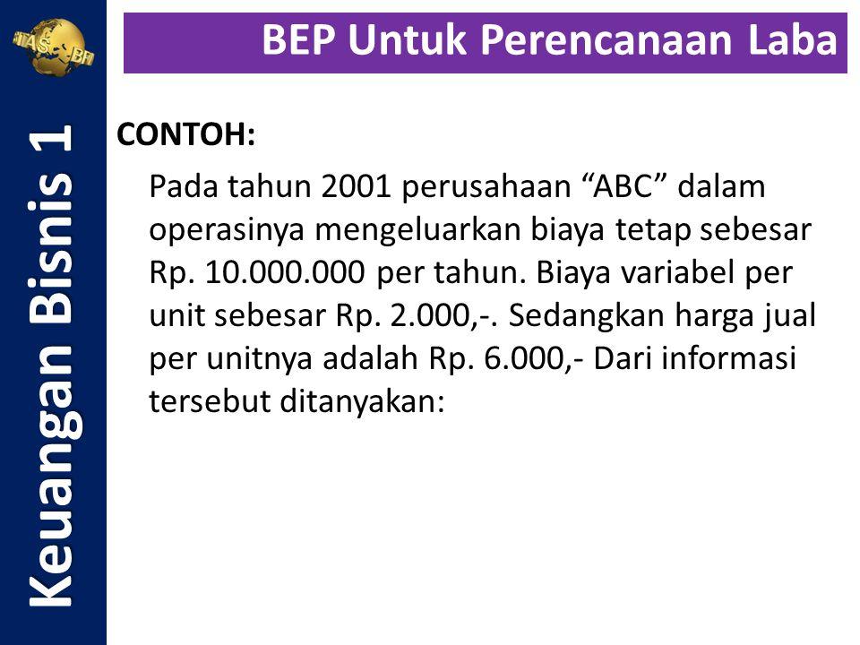 """CONTOH: Pada tahun 2001 perusahaan """"ABC"""" dalam operasinya mengeluarkan biaya tetap sebesar Rp. 10.000.000 per tahun. Biaya variabel per unit sebesar R"""