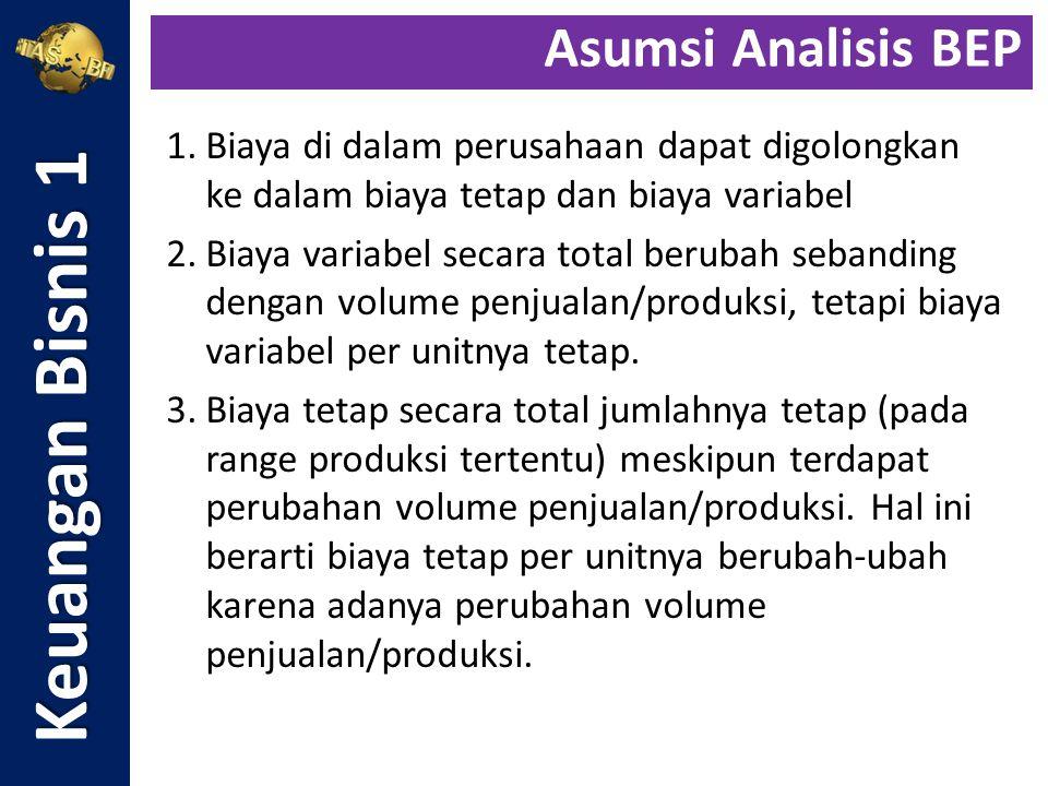 Perimbangan penjualan (sales mix) produk A dan B adalah 1 : 1,5 yaitu perbandingan antara Rp.