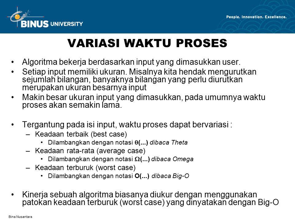 Bina Nusantara VARIASI WAKTU PROSES Algoritma bekerja berdasarkan input yang dimasukkan user.