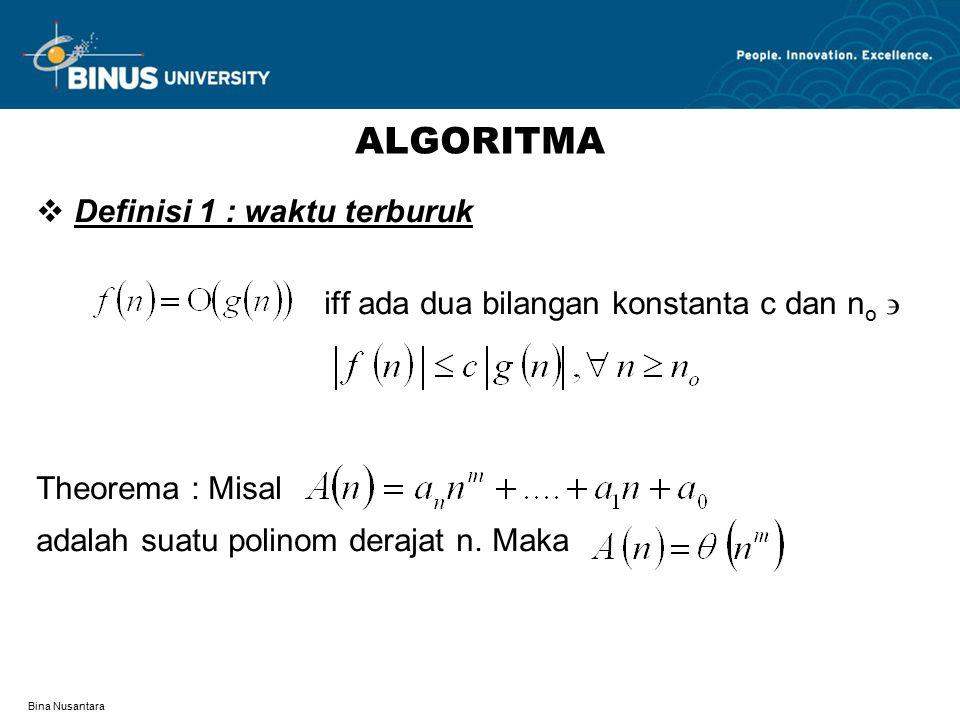 Bina Nusantara ALGORITMA  Definisi 1 : waktu terburuk iff ada dua bilangan konstanta c dan n o  Theorema : Misal adalah suatu polinom derajat n.