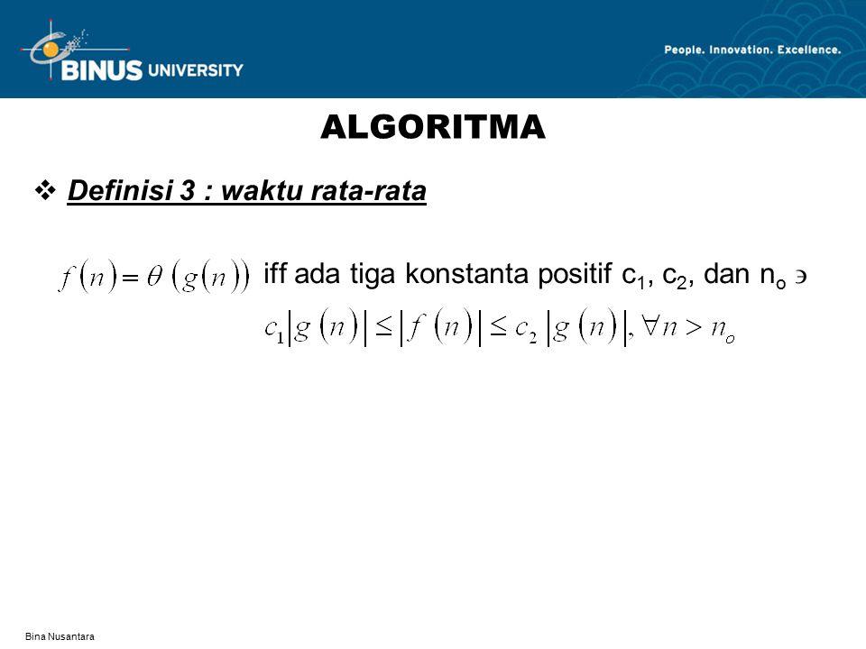 Bina Nusantara MENGHITUNG WAKTU PROSES (1) Contoh : Pseudocode Selection Sort (pseudocode 3.6) 1 for i=1 to N-1 do 2 min=i 3 for j=i+1 to N do 4 if A[j]<A[min] then 5 min=j 6 end if 7 end for 8 swap(A[i],A[min]) 9 end for Hitung waktu proses algoritma yang diperlukan untuk mengurutkan deretan yang berisi 8 angka acak .