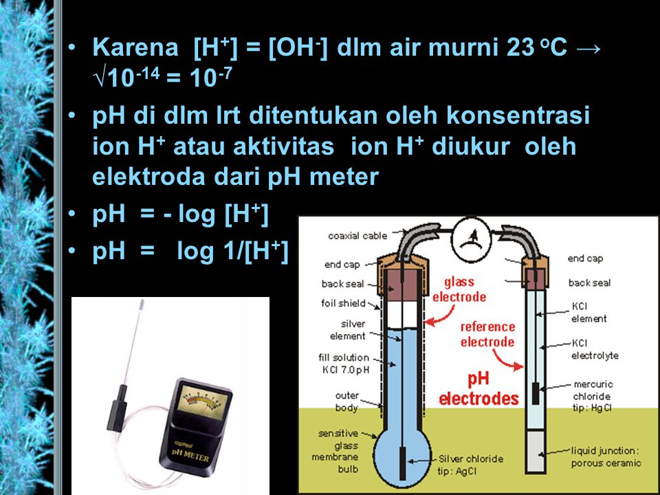Bilamana tanah itu netral, [H + ] = 0,0000001 atau 1 x 10 -7 g [H + ] / liter larutan atau : = log 10.000.000 = 7.0 Bilamana pH = 6,0 1 x 10 -6 g [H + ] / liter larutan atau [H + ] = 0,000001 10 x [H + ] dari pH = 7,0 (lebih masam) Bilamana pH = 8,0 1 x 10 -8 g [H + ] / liter larutan atau [H + ] = 0,000000011/10 x [H + ] dari pH = 6,0 *) pH larutan ditentukan oleh [H + ]