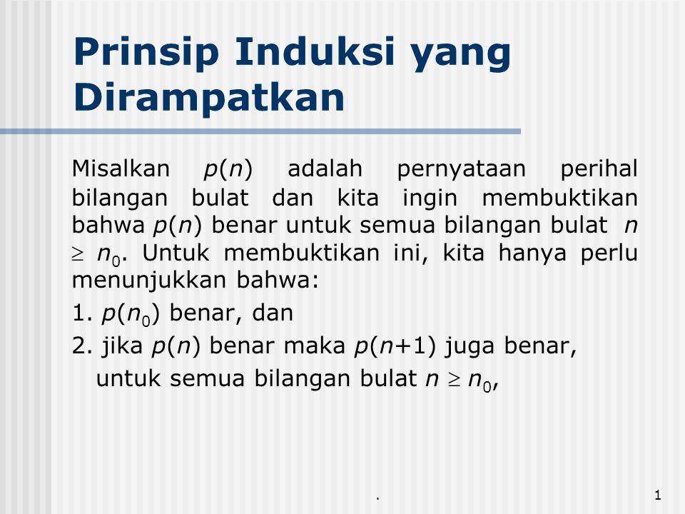 .1 Prinsip Induksi yang Dirampatkan Misalkan p(n) adalah pernyataan perihal bilangan bulat dan kita ingin membuktikan bahwa p(n) benar untuk semua bilangan bulat n  n 0.