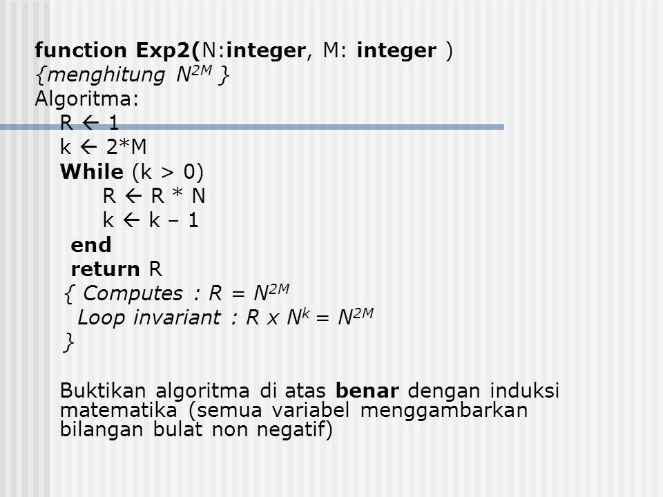 function Exp2(N:integer, M: integer ) {menghitung N 2M } Algoritma: R  1 k  2*M While (k > 0) R  R * N k  k – 1 end return R { Computes : R = N 2M Loop invariant : R x N k = N 2M } Buktikan algoritma di atas benar dengan induksi matematika (semua variabel menggambarkan bilangan bulat non negatif)