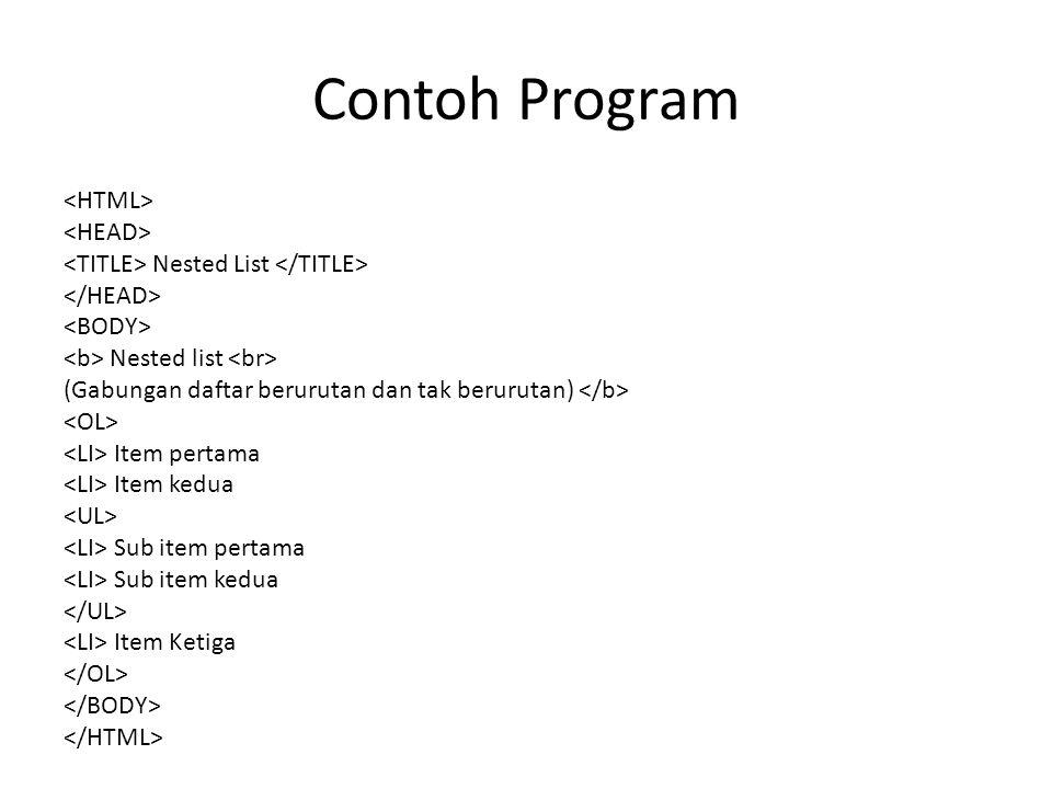 Contoh Program Nested List Nested list (Gabungan daftar berurutan dan tak berurutan) Item pertama Item kedua Sub item pertama Sub item kedua Item Keti