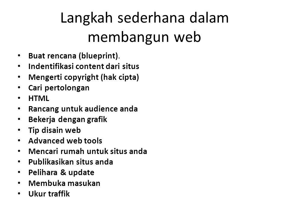 Langkah sederhana dalam membangun web Buat rencana (blueprint). Indentifikasi content dari situs Mengerti copyright (hak cipta) Cari pertolongan HTML