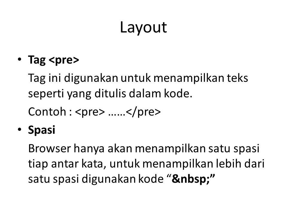 Layout Tag Tag ini digunakan untuk menampilkan teks seperti yang ditulis dalam kode. Contoh : …… Spasi Browser hanya akan menampilkan satu spasi tiap
