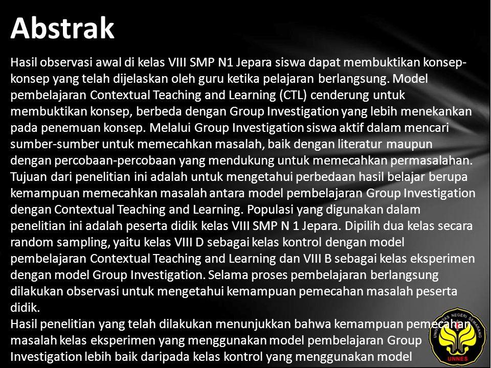 Kata Kunci Group Investigation, Kemampuan Memecahkan Masalah