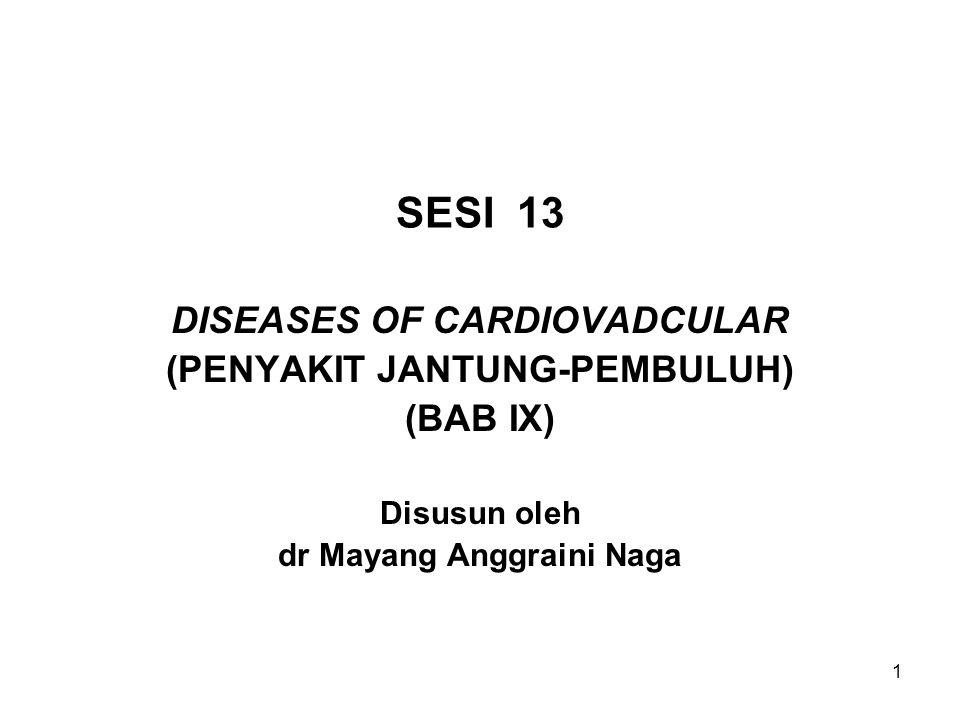 1 SESI 13 DISEASES OF CARDIOVADCULAR (PENYAKIT JANTUNG-PEMBULUH) (BAB IX) Disusun oleh dr Mayang Anggraini Naga