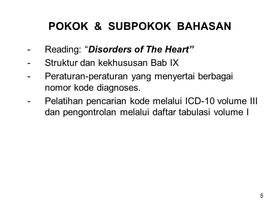 """5 POKOK & SUBPOKOK BAHASAN -Reading: """"Disorders of The Heart"""" -Struktur dan kekhususan Bab IX -Peraturan-peraturan yang menyertai berbagai nomor kode"""