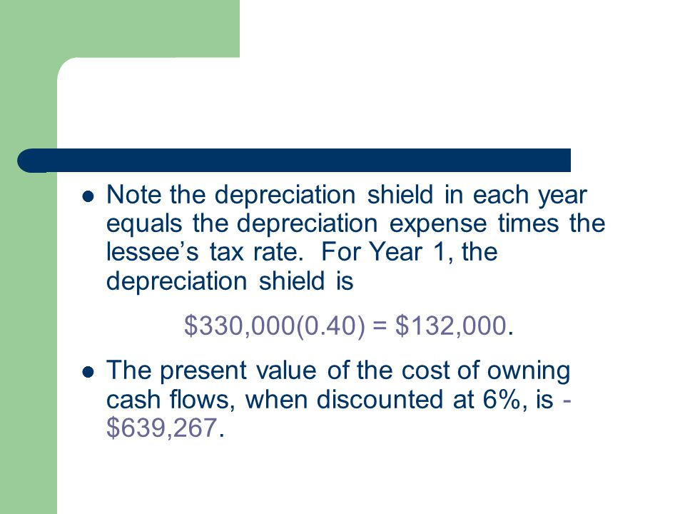 Note the depreciation shield in each year equals the depreciation expense times the lessee's tax rate. For Year 1, the depreciation shield is $330,000