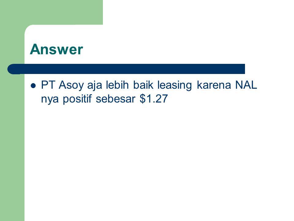 PT Asoy aja lebih baik leasing karena NAL nya positif sebesar $1.27