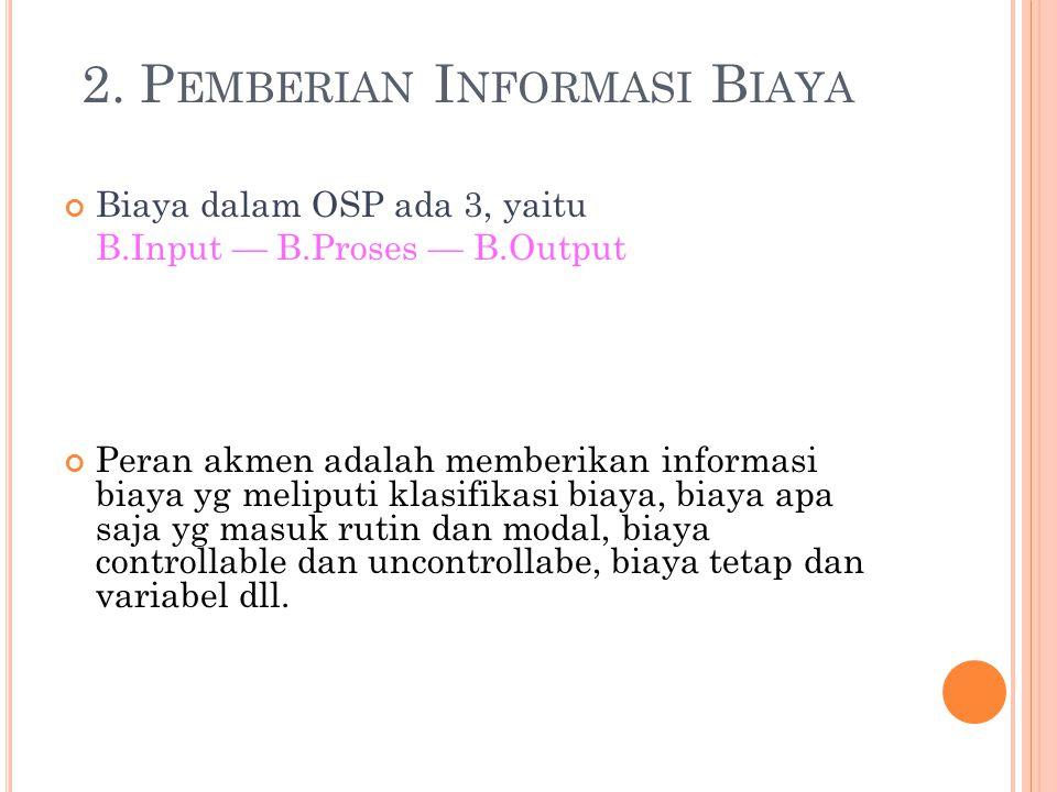 2. P EMBERIAN I NFORMASI B IAYA Biaya dalam OSP ada 3, yaitu B.Input — B.Proses — B.Output Peran akmen adalah memberikan informasi biaya yg meliputi k
