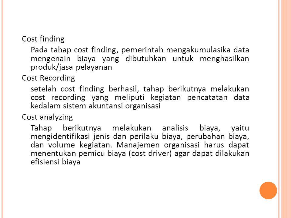 Cost finding Pada tahap cost finding, pemerintah mengakumulasika data mengenain biaya yang dibutuhkan untuk menghasilkan produk/jasa pelayanan Cost Re