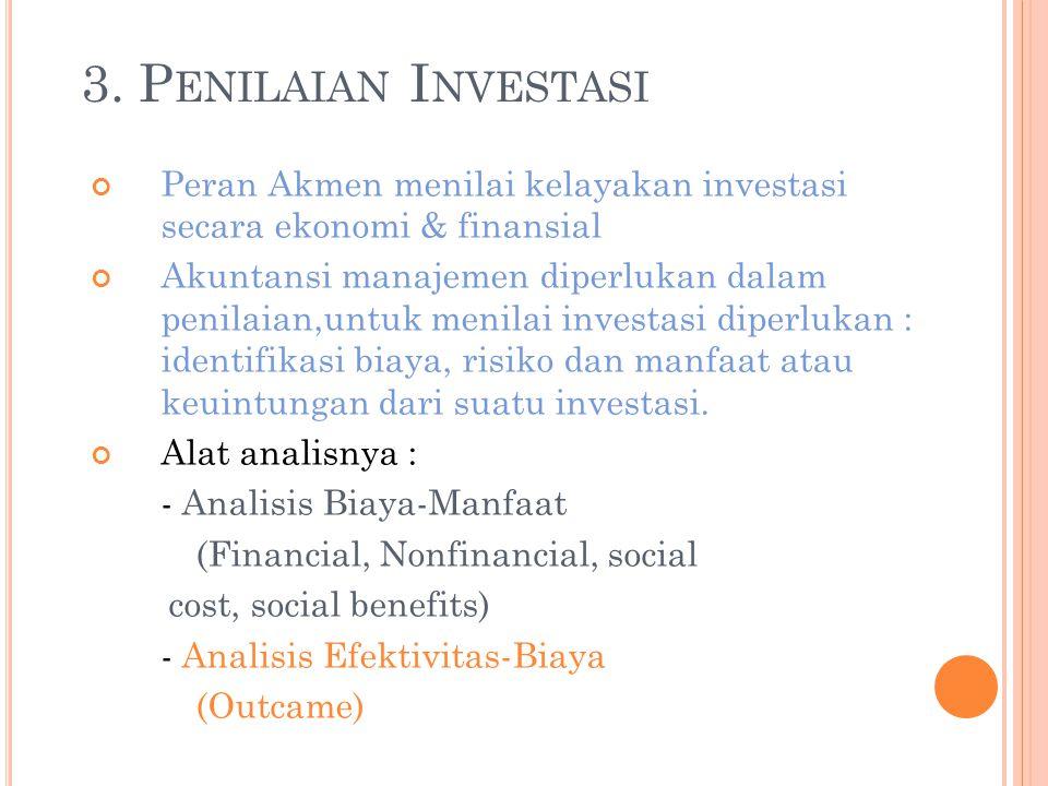 3. P ENILAIAN I NVESTASI Peran Akmen menilai kelayakan investasi secara ekonomi & finansial Akuntansi manajemen diperlukan dalam penilaian,untuk menil