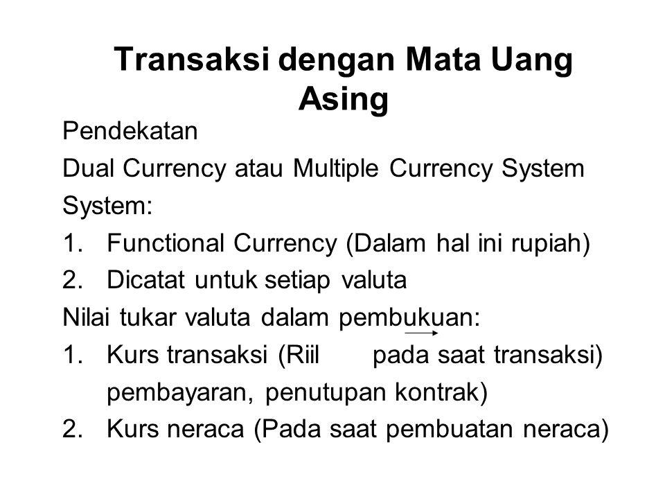 Transaksi dengan Mata Uang Asing Pendekatan Dual Currency atau Multiple Currency System System: 1.Functional Currency (Dalam hal ini rupiah) 2.Dicatat