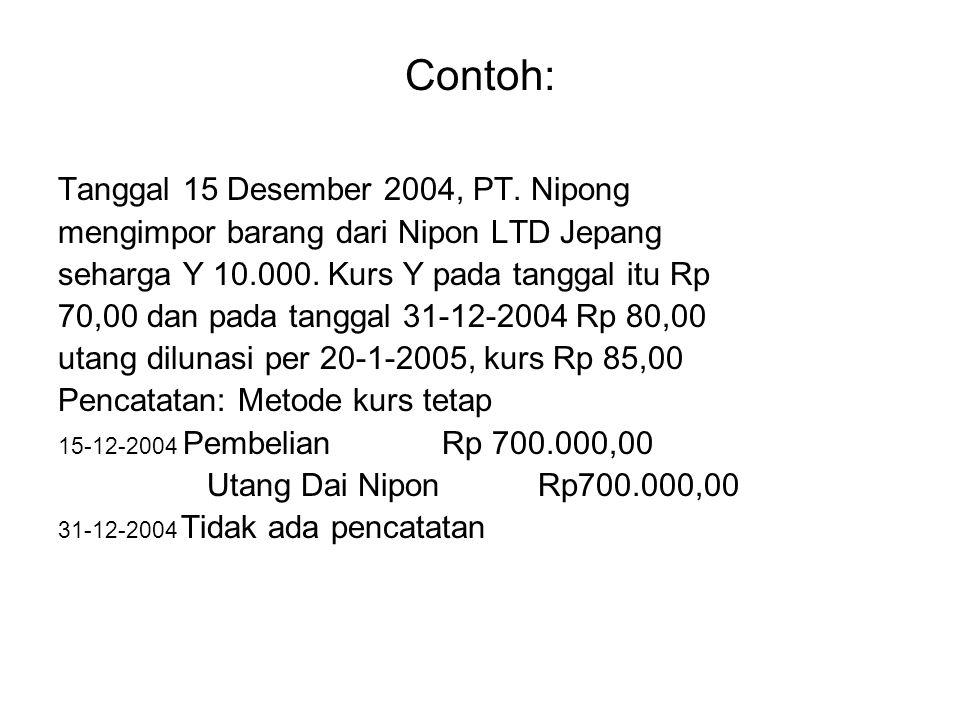 Contoh: Tanggal 15 Desember 2004, PT. Nipong mengimpor barang dari Nipon LTD Jepang seharga Y 10.000. Kurs Y pada tanggal itu Rp 70,00 dan pada tangga