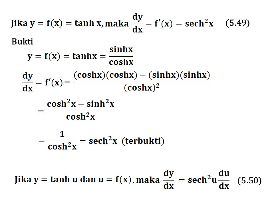 Sedangkan untuk turunan ke n, dengan n  4, kita gunakan lambang Tentukan turunan pertama sampai dengan turunan keempat dari Penyelesaian Contoh 5.37
