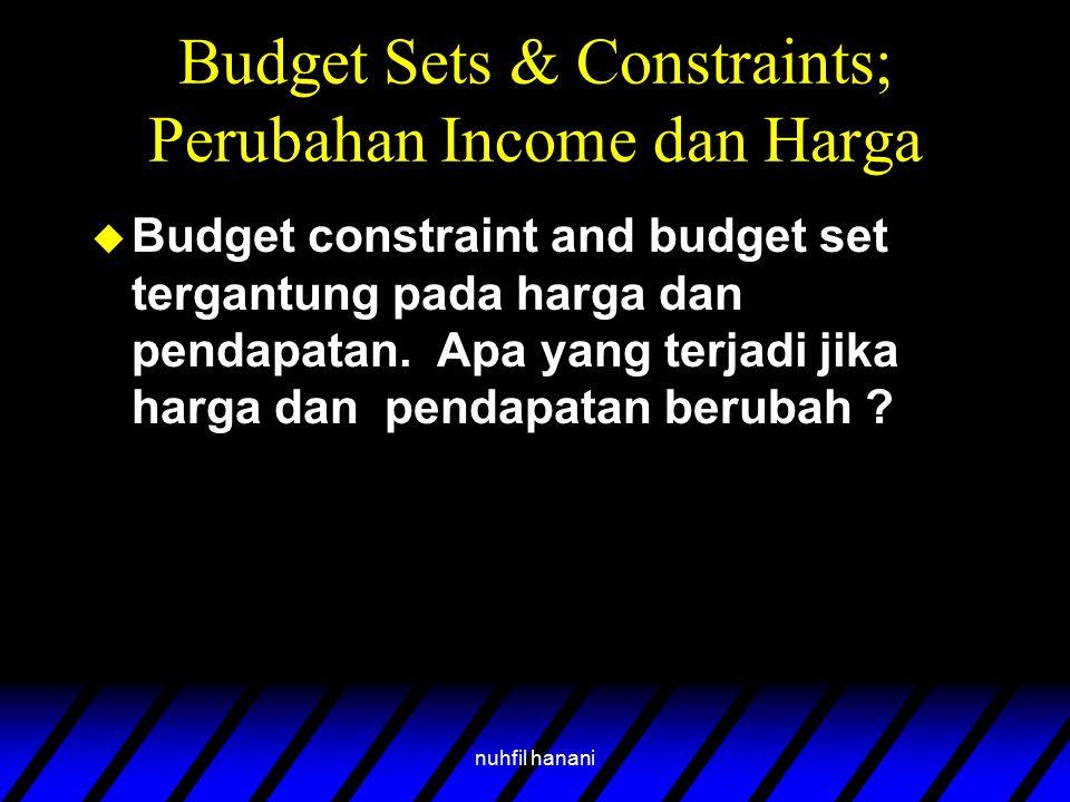 nuhfil hanani Budget Sets & Constraints; Perubahan Income dan Harga u Budget constraint and budget set tergantung pada harga dan pendapatan. Apa yang