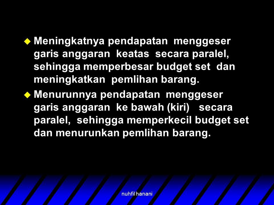 nuhfil hanani u Meningkatnya pendapatan menggeser garis anggaran keatas secara paralel, sehingga memperbesar budget set dan meningkatkan pemlihan bara