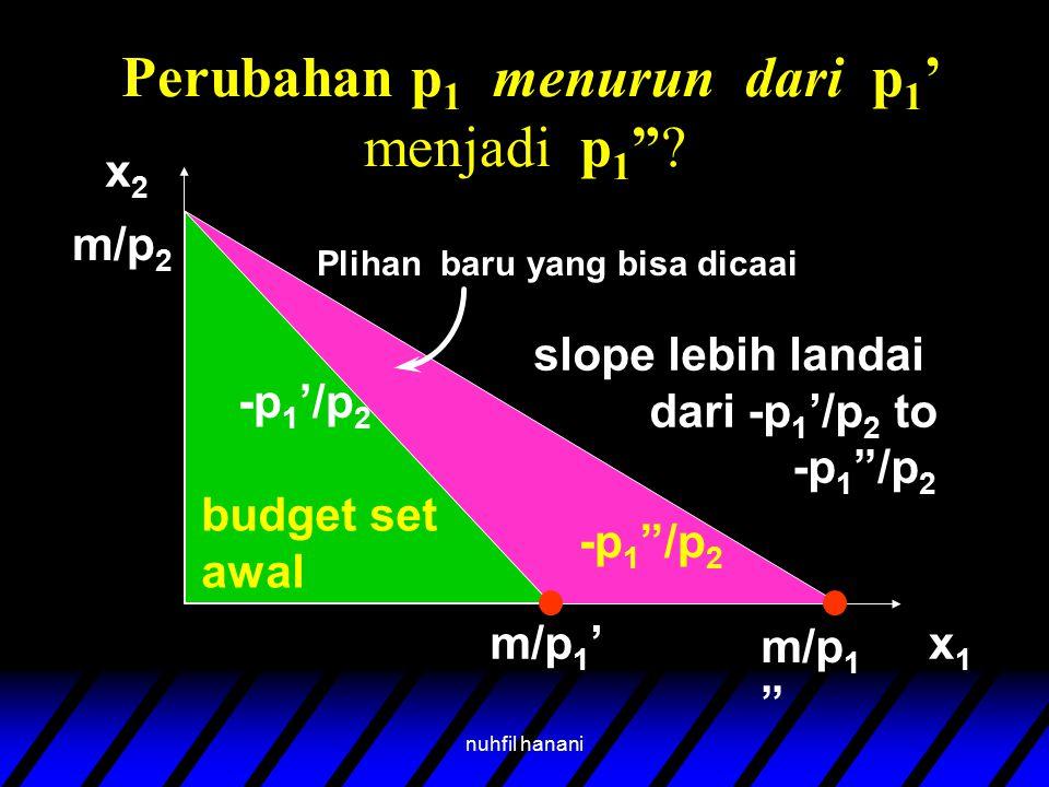"""nuhfil hanani Perubahan p 1 menurun dari p 1 ' menjadi p 1 """"? budget set awal x2x2 x1x1 m/p 2 m/p 1 ' m/p 1 """" Plihan baru yang bisa dicaai slope lebih"""