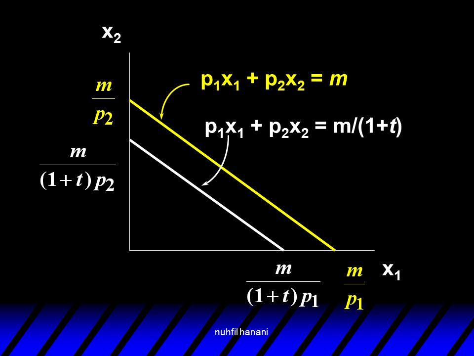 nuhfil hanani x2x2 x1x1 p 1 x 1 + p 2 x 2 = m p 1 x 1 + p 2 x 2 = m/(1+t)