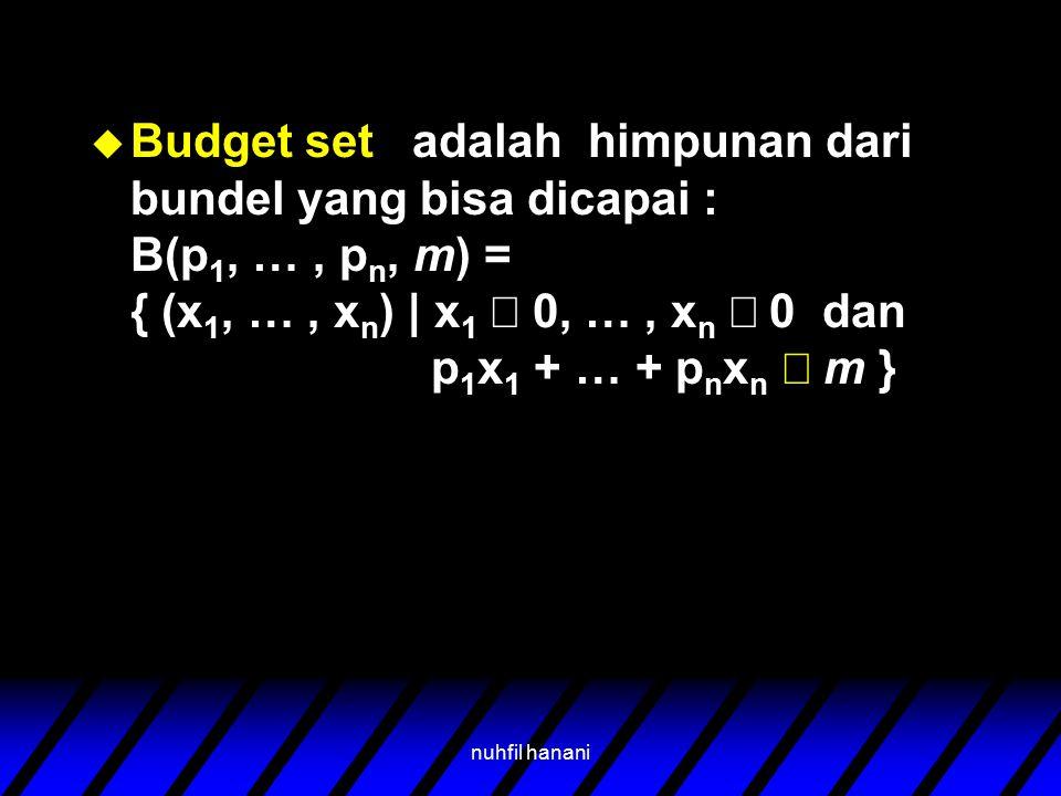 nuhfil hanani  Budget set adalah himpunan dari bundel yang bisa dicapai : B(p 1, …, p n, m) = { (x 1, …, x n ) | x 1  0, …, x n  0 dan p 1 x 1 + …